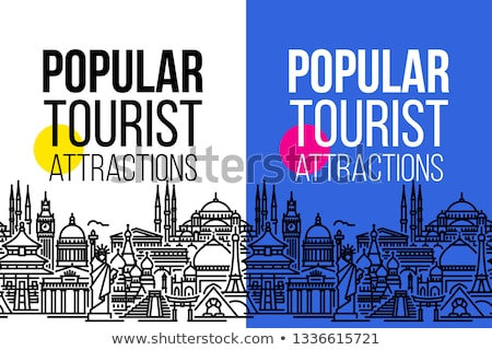 Banner with seamless cityscape of worlds tourist attractions Stock photo © ussr