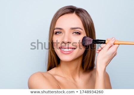 bastante · sorrindo · fotos · isolado · cinza · cintura - foto stock © studiolucky