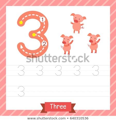 number three tracing worksheets stock photo © colematt
