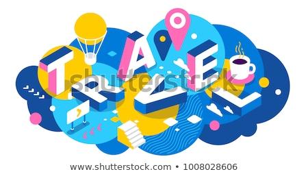 travel around the world   colorful isometric illustration stock photo © decorwithme
