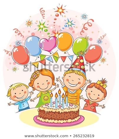 Felice amici grande torta festa di compleanno celebrazione Foto d'archivio © dolgachov