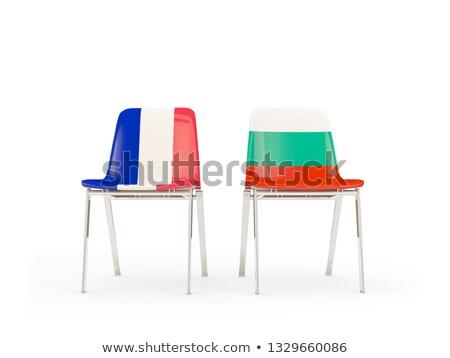 Dwa krzesła flagi Francja Bułgaria odizolowany Zdjęcia stock © MikhailMishchenko
