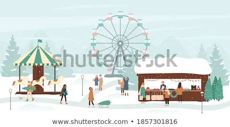 Children on Christmas Winter Vacations Snowy City Stock photo © robuart