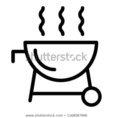 BBQ grill line internetowych ikona żywności Zdjęcia stock © Anna_leni