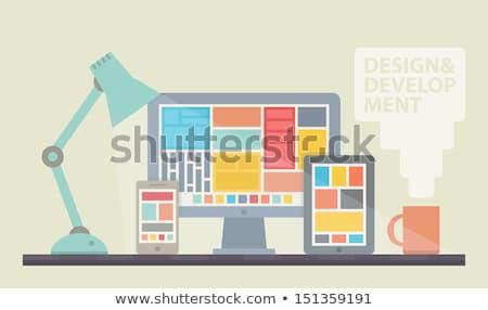 equipe · linha · projeto · bandeira · trabalhadores · de · escritório · ilustração - foto stock © decorwithme