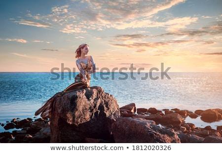 Sereia pedra belo mar noite Foto stock © liolle