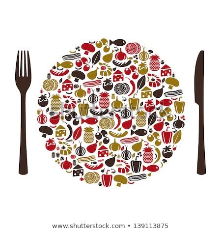 ingesteld · iconen · champignons · geïsoleerd · witte · voedsel - stockfoto © djdarkflower