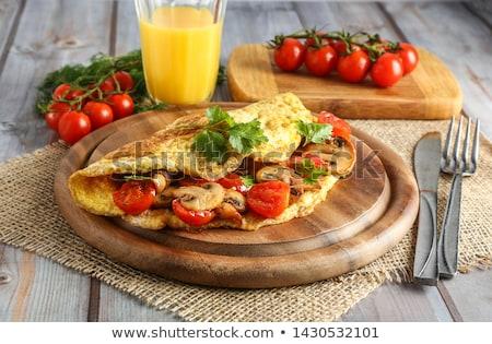 szynka · pomidorów · zielone · Sałatka · jaj · śniadanie - zdjęcia stock © grafvision