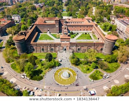 Stockfoto: Milaan · kasteel · Italië · retro · Europa · oude
