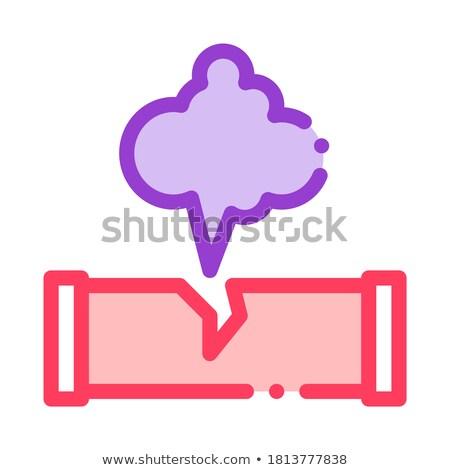 Gaz Pipe Break Pollution Vector Thin Line Icon Stock photo © pikepicture