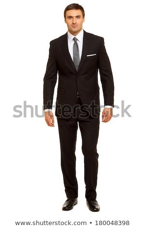 Stockfoto: Aantrekkelijk · zakenman · permanente · zwart · pak