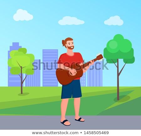 Stockfoto: Vrijheid · spelen · gitaar · park · vector