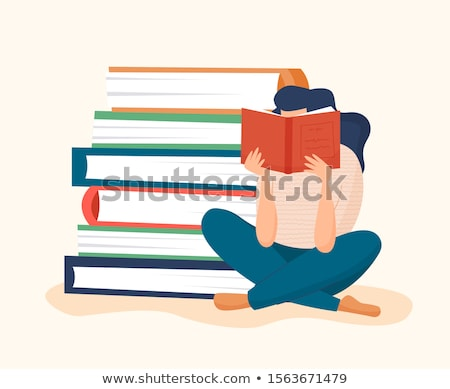 Woman Reading Textbook in Library Flat Vector  Stock photo © robuart