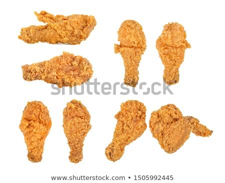 жареная · курица · древесины · фон · куриные · пластина · томатный - Сток-фото © grafvision