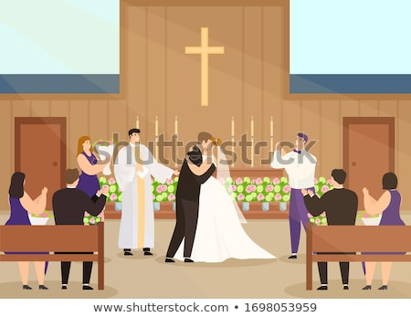 Wedding Ceremony Couple by Altar Marriage Vector Stock photo © robuart