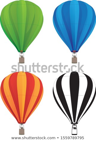 hot air balloon set in green blue red orange and black line art isolated vector illustration stock photo © jeff_hobrath