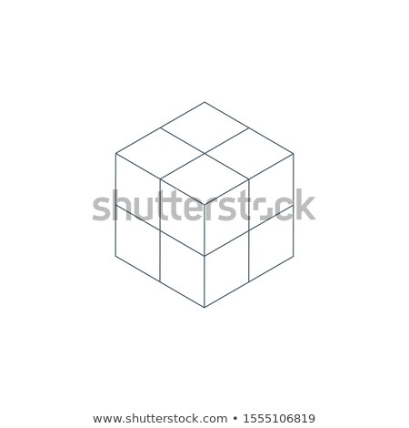 Stock foto: Linear 3d Isometric Cube Geometric Shape Puzzle Built Modern Design Template Stock Vector Illustra