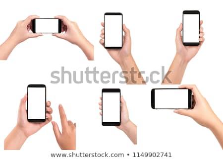 Hand mobiele telefoon draadloze signaal bergen Stockfoto © AndreyPopov