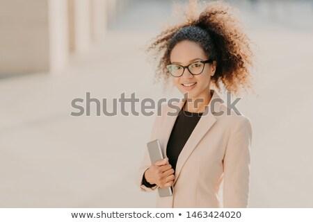 Positif afro femme d'affaires extérieur Photo stock © vkstudio