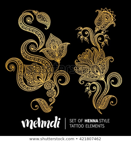 golden decorative ornamental mehndi style element design Stock photo © SArts