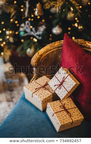 украшенный настоящее коробки удобный кресло новых Сток-фото © vkstudio