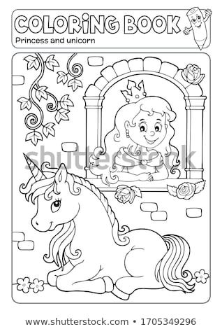 Coloring book princess and unicorn 1 Stock photo © clairev