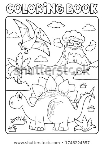 Coloring book dinosaur composition image 1 Stock photo © clairev