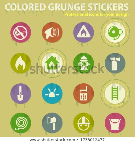 Fire brigade colored grunge icons Stock photo © ayaxmr