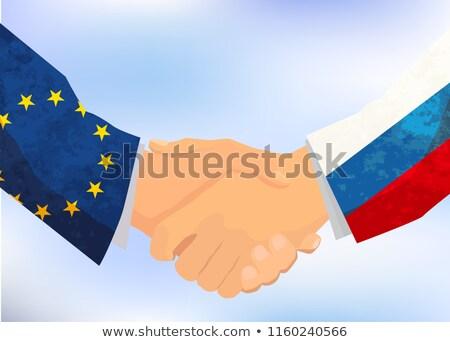 Oroszország európai szövetség kézfogás illusztráció kék ég Stock fotó © evgeny89