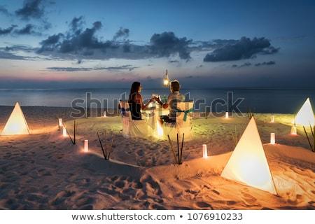 пару Мальдивы романтические сидят Бассейн женщину Сток-фото © dash