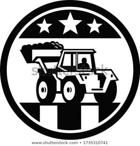 Mechanisch graafmachine USA vlag zwart wit icon Stockfoto © patrimonio