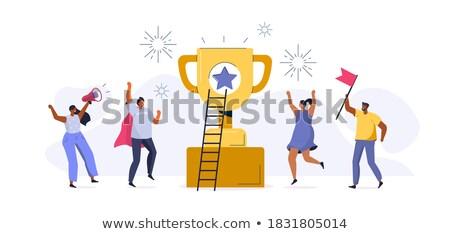 Männer stehen Gewinner Tasse Ziel erreicht Stock foto © robuart