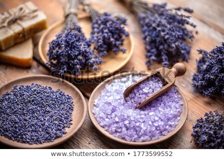 Lavender flowers and coloured bathing salt  Stock photo © grafvision