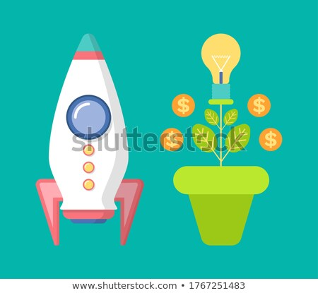 Spaceship and Money Tree with Coins, Dollar Vector Stock photo © robuart