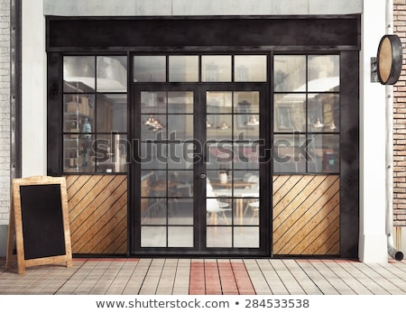 Background of old  wall with window and door Stock photo © stokato