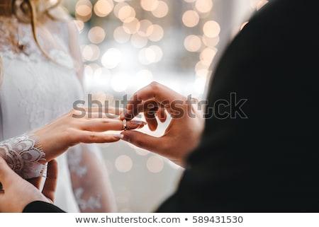 jegygyűrűk · virágok · esküvő · szív · levél · felirat - stock fotó © sapegina