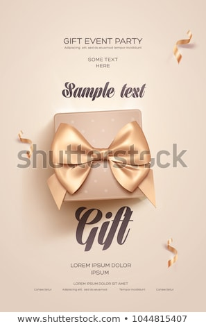 Valentine card with golden bow and hearts Stock photo © orson