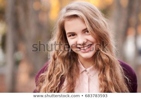 gyönyörű · szőke · tinilány · eper · hosszú · göndör · haj - stock fotó © lubavnel