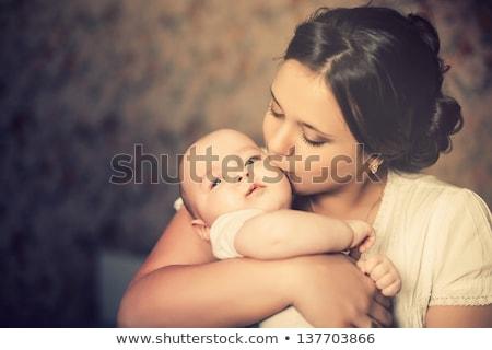 Közelkép portré anya baba lány kéz Stock fotó © Paha_L