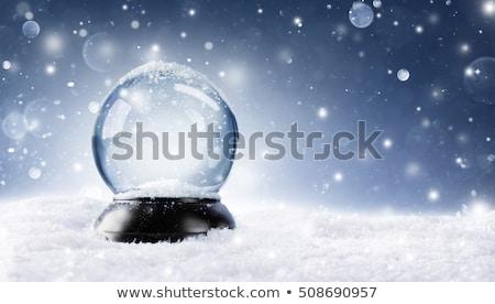 Christmas sneeuw globes twee geïsoleerd witte Stockfoto © klikk