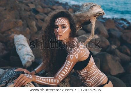 Сток-фото: молодые · родной · американский · женщину · пляж · портрет