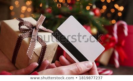 Weihnachten Geschenkkarte cool dekoriert Bogen Blätter Stock foto © oblachko