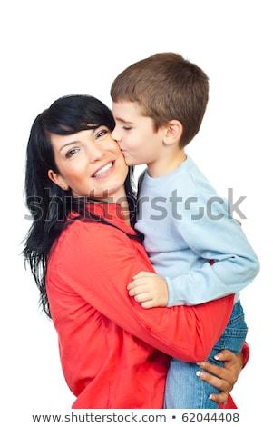 мало · мальчика · поцелуй · матери · белый · улыбка - Сток-фото © dacasdo