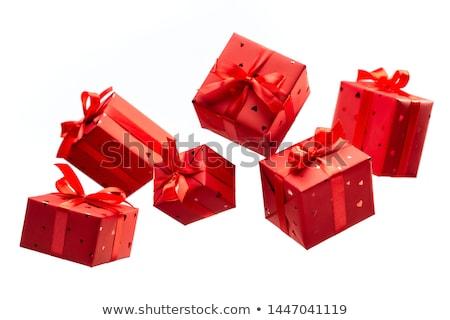 Vermelho caixa de presente corações isolado branco feliz Foto stock © adamson