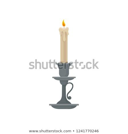 antik · fém · gyertyatartó · égő · gyertya · fekete - stock fotó © designsstock