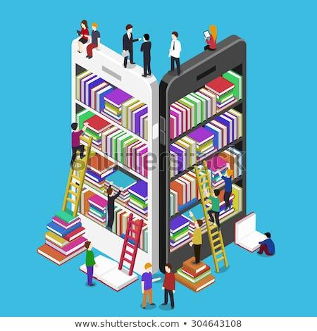 Zdjęcia stock: Cyfrowe · książki · smartphone · Widok · mężczyzn