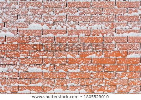 レンガの壁 雪 古い 風化した 青 壁 ストックフォト © Taigi