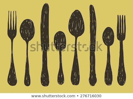establecer · vector · plata · metal · cuchillo - foto stock © pcanzo