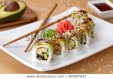 Stok fotoğraf: Ejderha · rulo · sushi · gıda · yeme · Japon