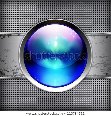 Techno bouton métal bannière énorme Photo stock © OlgaYakovenko